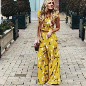 Yellow palazzo high waisted trouser